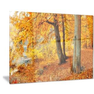 Designart 'Yellow Forest of Autumn' Landscape Photo Metal Wall Art