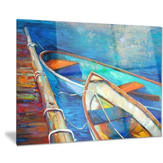 Designart 'Boats and Pier in Blue Shade' Seascape Painting Metal Wall Art