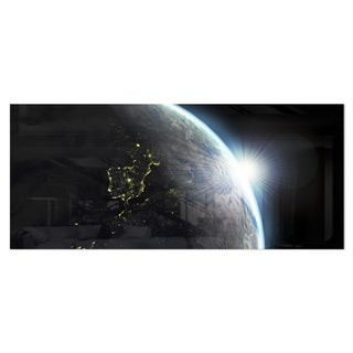 Designart 'Earth View with Day and Night Effect' Digital Art Metal Wall Art