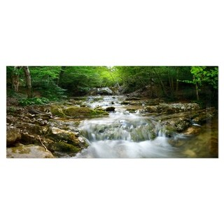 Designart 'Natural Spring Waterfall' Landscape Photo Metal Wall Art