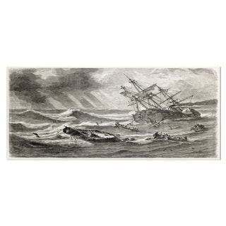 Designart 'Vintage Shipwreck' Seascape Painting Metal Wall Art
