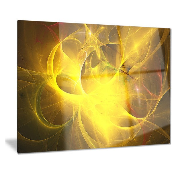 Designart \'Dark Yellow Nebula Star\' Abstract Digital Art Metal Wall ...