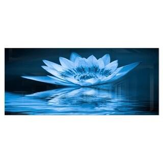 Designart 'Blue Water Lily' Floral Digital Art Metal Wall Art