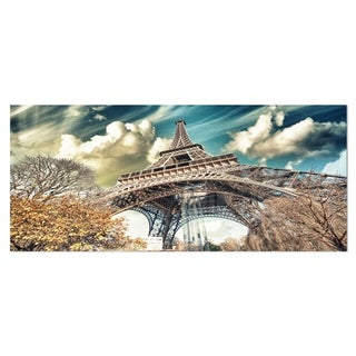 Designart 'Street View of Eiffel Tower' Cityscape Digital Art Metal Wall Art