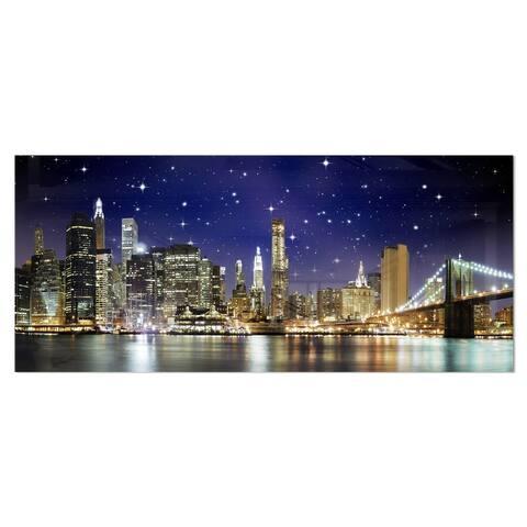 Designart 'Night Colors over Brooklyn Bridge' Cityscape Photo Metal Wall Art