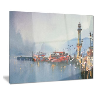 Designart 'Fishing Boats in Harbor' Landscape Painting Metal Wall Art