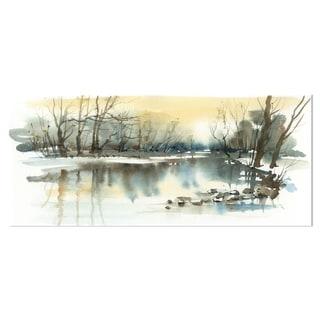 Designart 'River in Winter' Landscape Painting Metal Wall Art