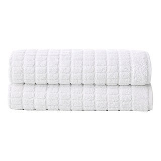 Berrnour Home Solomon Collection Two (2) Piece Set of Squares Design 20 inches X 31 inches Luxury Bath Mat