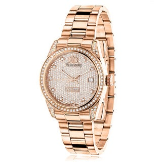 Luxurman Women's Tribeca Rose Gold Stainless Steel 1.5-carat Diamond Watch