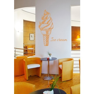 Caption ice cream Wall Art Sticker Decal Orange