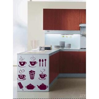 Tea, coffee ice cream Wall Art Sticker Decal Red