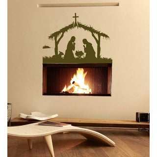 Birth of Jesus Christ Wall Art Sticker Decal Brown