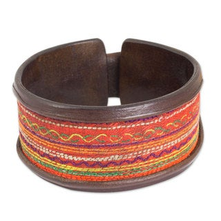Handcrafted Leather Cotton 'Hill Tribe Party' Bracelet (Thailand)