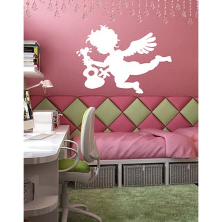 Angel with guitar Wall Art Sticker Decal white