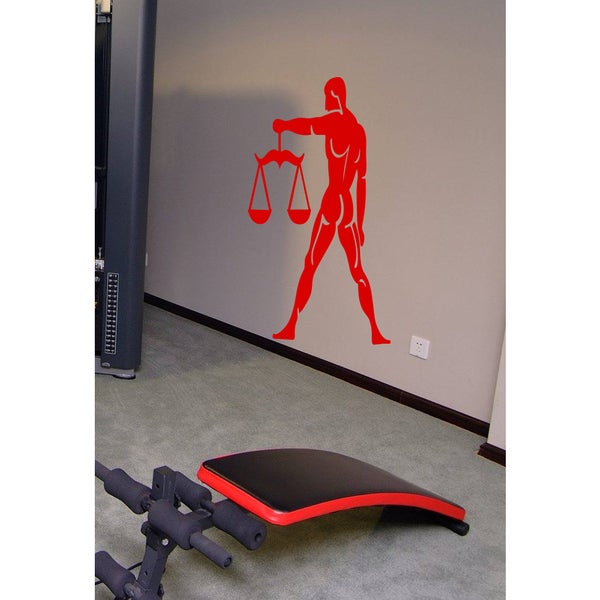 Body Builder Scales Of Justice Wall Art Sticker Decal Red