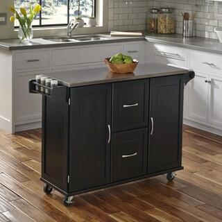Havenside Home Driftwood Patriot White or Black Wooden Kitchen Cart