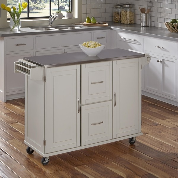 Patriot White or Black Wooden Kitchen Cart by Home Styles