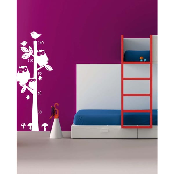 Funny Stairs owl animal tree growth Wall Art Sticker Decal White