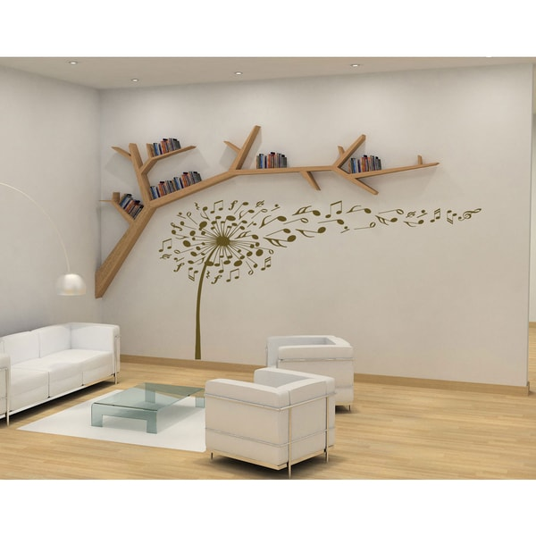 Gentil Flower Dandelion Wall Art Sticker Decal Brown