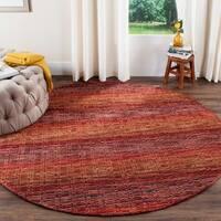 Safavieh Handmade Himalaya Red/ Multicolored Wool Stripe Rug - 6' Round