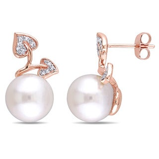 Miadora 10k Rose Gold White Cultured Freshwater Pearl and 1/10ct TDW Diamond Flower Stud Earrings (G-H, I2-I3) (9.5-10 mm)