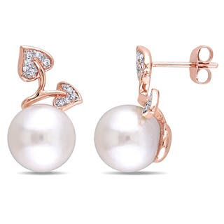 Miadora 10k Rose Gold White Cultured Freshwater Pearl and 1/10ct TDW Diamond Flower Stud Earrings (G-H, I2-I3) (9.5-10 mm)|https://ak1.ostkcdn.com/images/products/11850978/P18752444.jpg?impolicy=medium