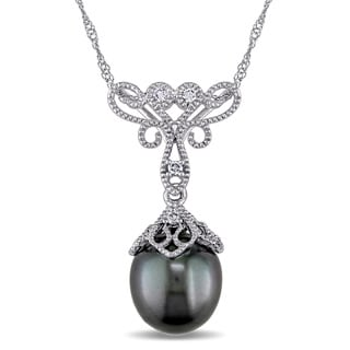Miadora 14k White Gold Black Tahitian Pearl and Diamond Accent Filigree Drop Necklace (9-9.5 mm)