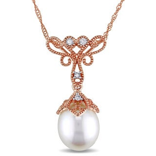 Miadora 14k Rose Gold White Cultured Freshwater Pearl and Diamond Accent Filigree Drop Necklace (9-9.5 mm)