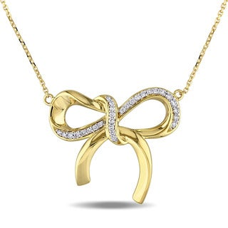 Miadora 14k Yellow Gold 1/5ct TDW Diamond Bow Necklace