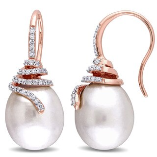 Miadora Signature Collection 14k Rose Gold Cultured South Sea Pearl and 1/3ct TDW Diamond Spiral Drop Earrings (G-H, SI1-SI2)