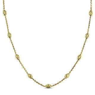 Miadora 18k Yellow Gold Italian Diamond Cut Ball Station Necklace