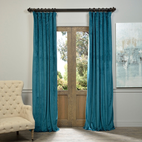 Exclusive Fabrics Signature Velvet 96-inch Blackout Curtain Panel in Grey (As Is Item). Opens flyout.