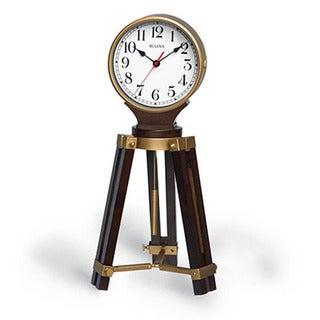 Bulova Rowayton B1656 Brown Wood Quartz Movement Mantel Clock