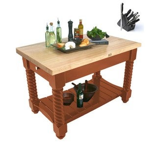 John Boos 54x32 Tuscan Isle Spicy Latte Butcher Block Table TUSI5432 With Bonus 13-piece Henckels Knife Set