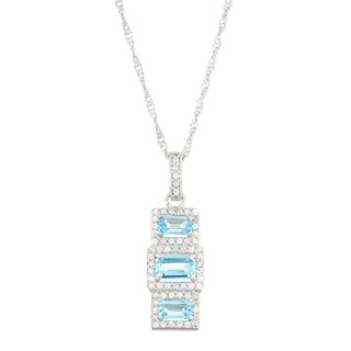 Gioelli 10k White Gold 2/5ct TDW Diamond and Lab Created Sapphire Pendant (I-J, I1-I2)