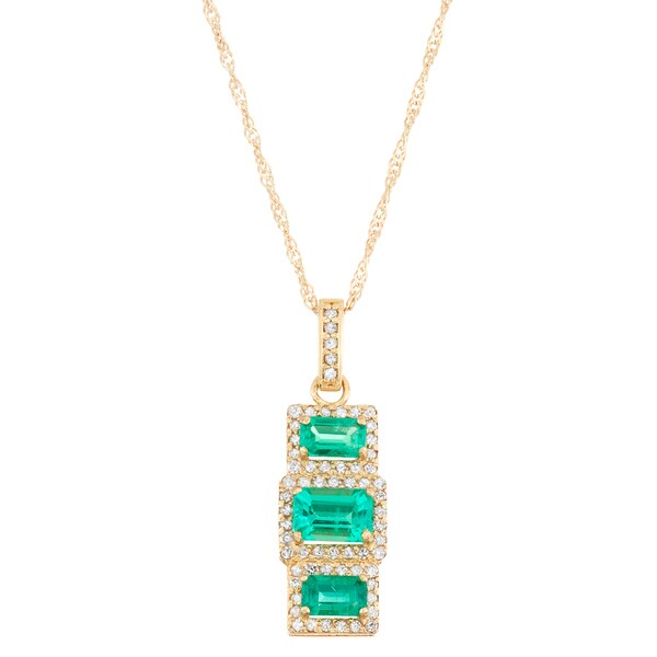 Gioelli 10k yellow gold 25ct tdw diamond and lab created emerald gioelli 10k yellow gold 25ct tdw diamond and lab created emerald pendant i j mozeypictures Image collections