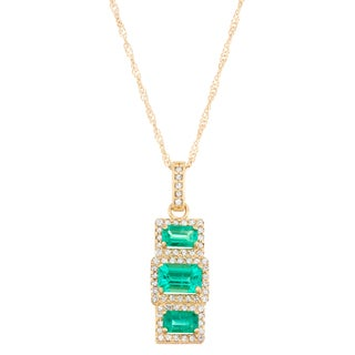 Gioelli 10k Yellow Gold 2/5ct TDW Diamond and Lab Created Emerald Pendant (I-J, I1-I2)