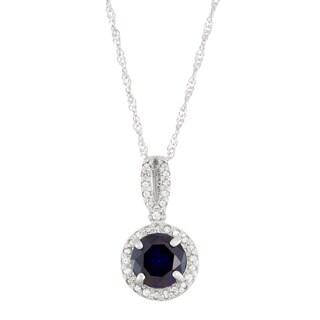 Gioelli 10k White Gold 1/6ct TDW Diamond and Lab Created Sapphire Pendant (I-J, I1-I2)