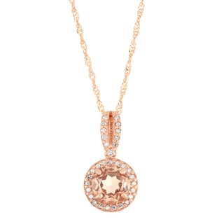 Gioelli 10k Rose Gold 1/6ct TDW Diamond and Quartz Pendant (I-J, I1-I2)