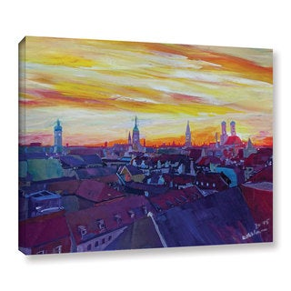 Marcus/Martina Bleichner's 'Munich Skyline With Burning Sky At Sunset' Gallery Wrapped Canvas