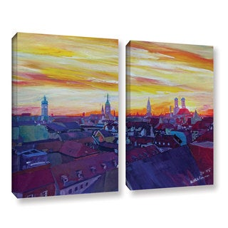 Marcus/Martina Bleichner's 'Munich Skyline With Burning Sky At Sunset' 2-piece Gallery Wrapped Canva