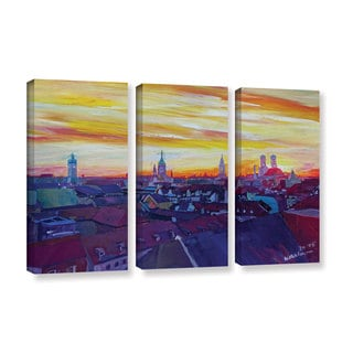 Marcus/Martina Bleichner's 'Munich Skyline With Burning Sky At Sunset' 3-piece Gallery Wrapped Canva