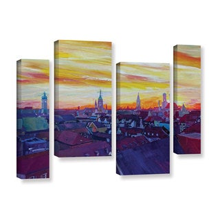 Marcus/Martina Bleichner's 'Munich Skyline With Burning Sky At Sunset' 4-piece Gallery Wrapped Canva