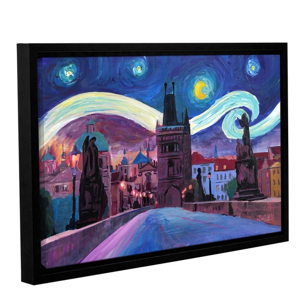 Marcus/Martina Bleichner's 'Starry Night In Prague' Gallery Wrapped Floater-framed Canvas
