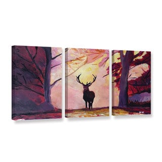 Marcus/Martina Bleichner's 'The Deer Coming From The Glade' 3-piece Gallery Wrapped Canvas Set