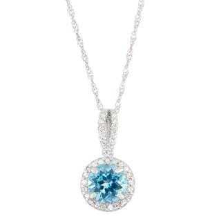 Gioelli 10k White Gold 1/6ct TDW Diamond and Genuine Swiss Blue Topaz Pendant (I-J, I1-I2)
