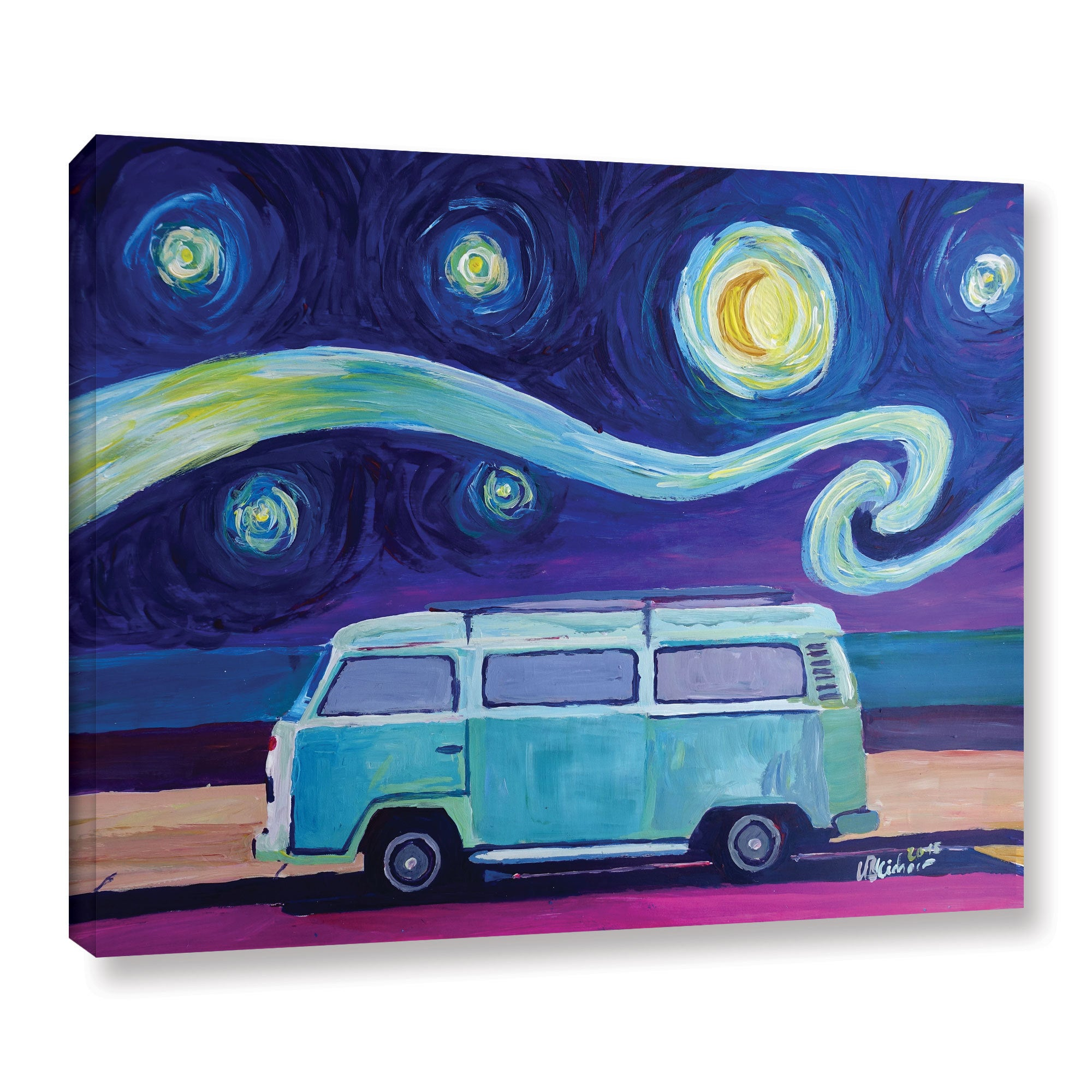 Marcus Martina Bleichner S The Surf Bus Series The Starry Night Bulli Gallery Wrapped Canvas Overstock 11851239