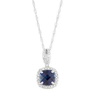 Gioelli 10k White Gold 1/5ct TDW Diamond and Lab Created Cushion-cut Sapphire Pendant (I-J, I1-I2)