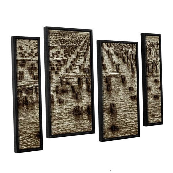 Vlad Bubnov's 'Archipelago of Antiquity' 4-piece Floater Framed Canvas Staggered Set - Black/Brown/White