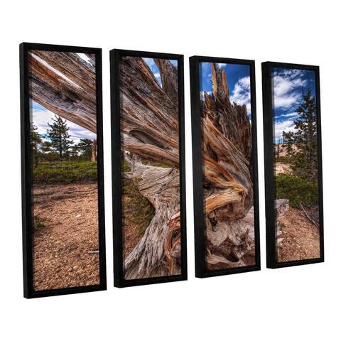 Vlad Bubnov's 'Cragwood' 4-piece Floater Framed Canvas Set - Blue
